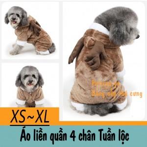 Quần áo chó mèo - Áo liền quần Tuần lộc