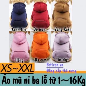 Quần áo chó mèo - Áo nỉ ba lỗ mũ trùm có túi