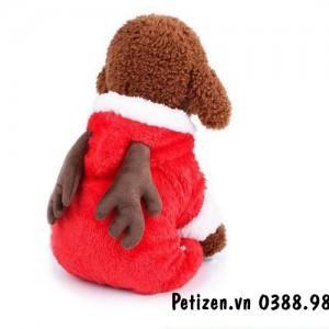 Quần Áo Chó Mèo – Áo liền quần tuần lộc đỏ